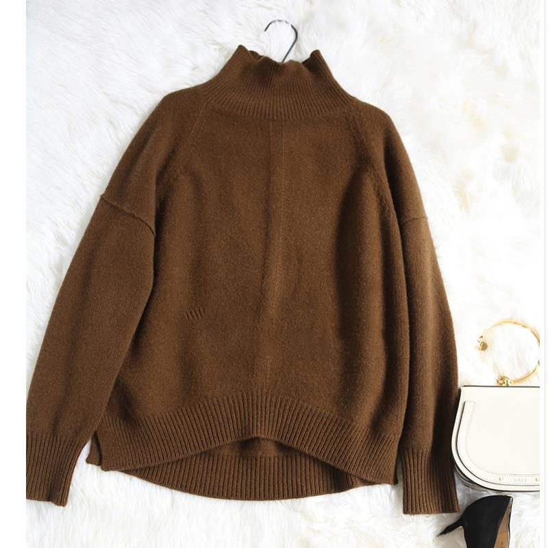 Cashmere sweater female spring high collar short pullover sweater wild solid color sweater loose sweater women's clothing
