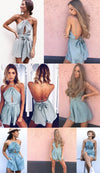 Casual Playsuit Cut Out Sexy Bodysuit Women Shorts Boho Jumpsuit Tie Summer Style Halter Beach Resort Romper-ROMPERS & JUMPSUITS-SheSimplyShops