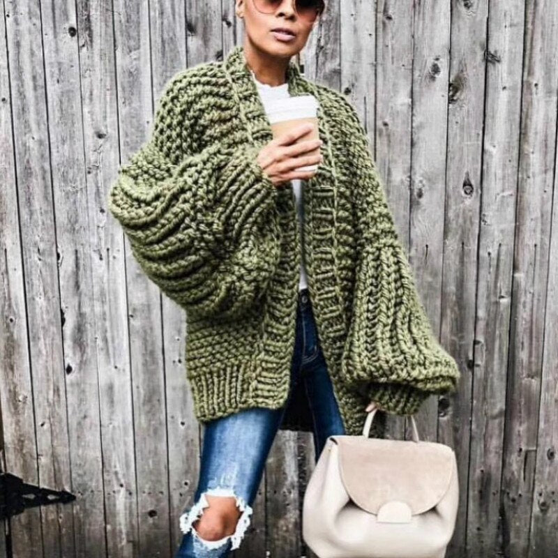 Chic Autumn Hand Knit Sweater Coarse Wool V Neck Lazy Rough Wool Lantern Sleeved Cardigan Batwing Jacket Crocheted Coat Outwear