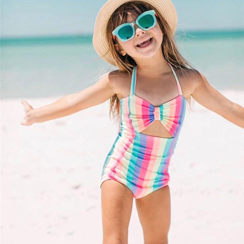 Children Swimwear Baby Kids Cute Bikinis Girls One Piece swimsuit Rainbow Halter High waist Holes Beachwear Bathing Suit-SWIMWEAR-SheSimplyShops