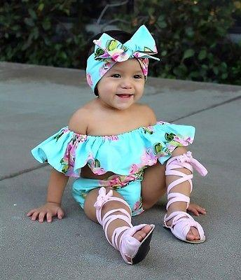 Children Swimwear Girls Bathing Suits 2Pcs Infant Baby Girl Off Shoulder Floral Ruffle Tops Romper Shorts Outfits Set-ROMPERS & JUMPSUITS-SheSimplyShops