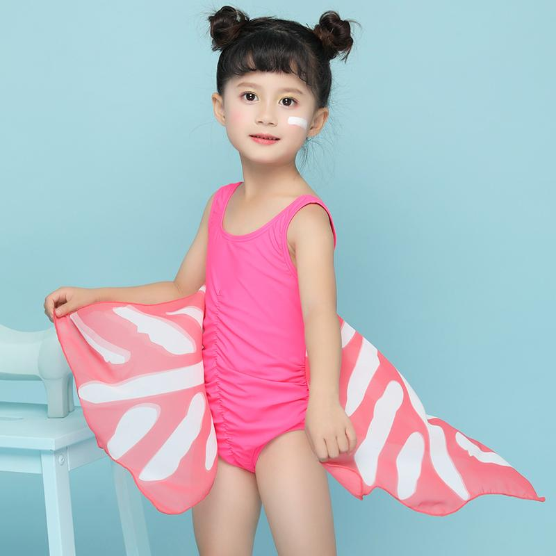 Children swimwear Baby Blue pink butterfly wings swimming suit girls Cute zip High waist one piece swimsuit-SheSimplyShops
