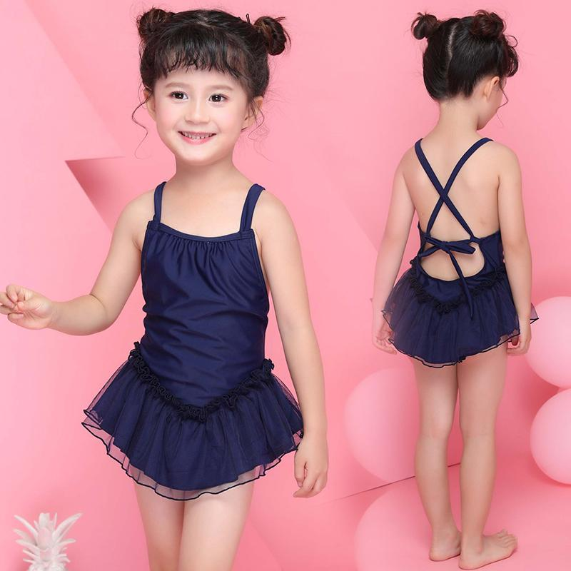 Children swimwear Sling pleated skirt Swimming suit girls cute temperament princess cross straps one piece swimsuit-SKIRTS-SheSimplyShops