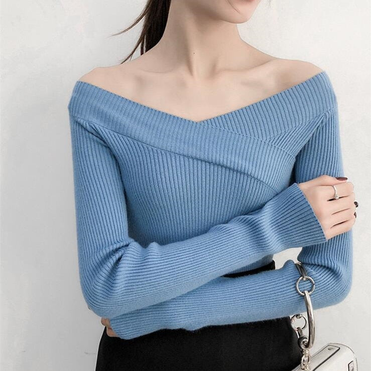Colorfaith Women Pullovers Sweater Knitted Autumn Winter Bottoming Elegant Slash Neck Ladies Tops SW372