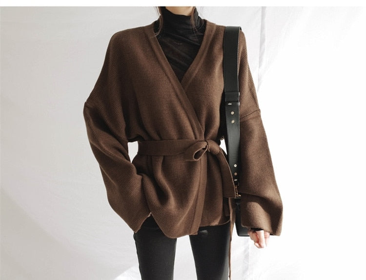 Colorfaith Women Sweater Cardigans Knitting Autumn Winter Lace Up Belt Loose Outer Wear Elegant Casual Ladies Tops SW8842