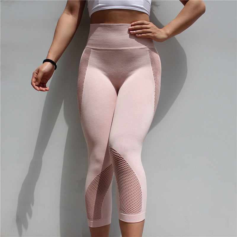Seamless Mesh Running Sport Tights Women Mention Hip Gym Yoga Capri Pants Tummy Control Fitness Athletic Leggings