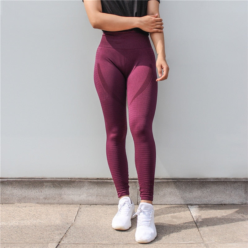 Colorvalue Super Stretchy Seamless Sport Fitness Leggings Women Tummy Control Gym Workout Pants Hollow Out Nylon Athletic Tights