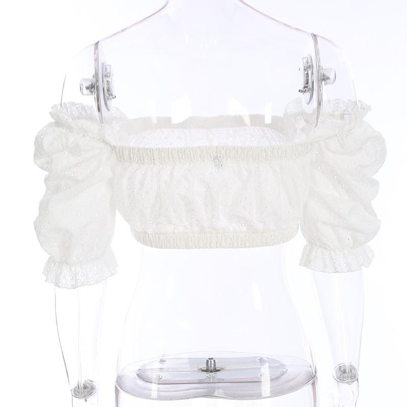 off shoulder white summer top ruffle women blouse shirt casual sexy women tops and blouses hollow out blush-Blouse-SheSimplyShops