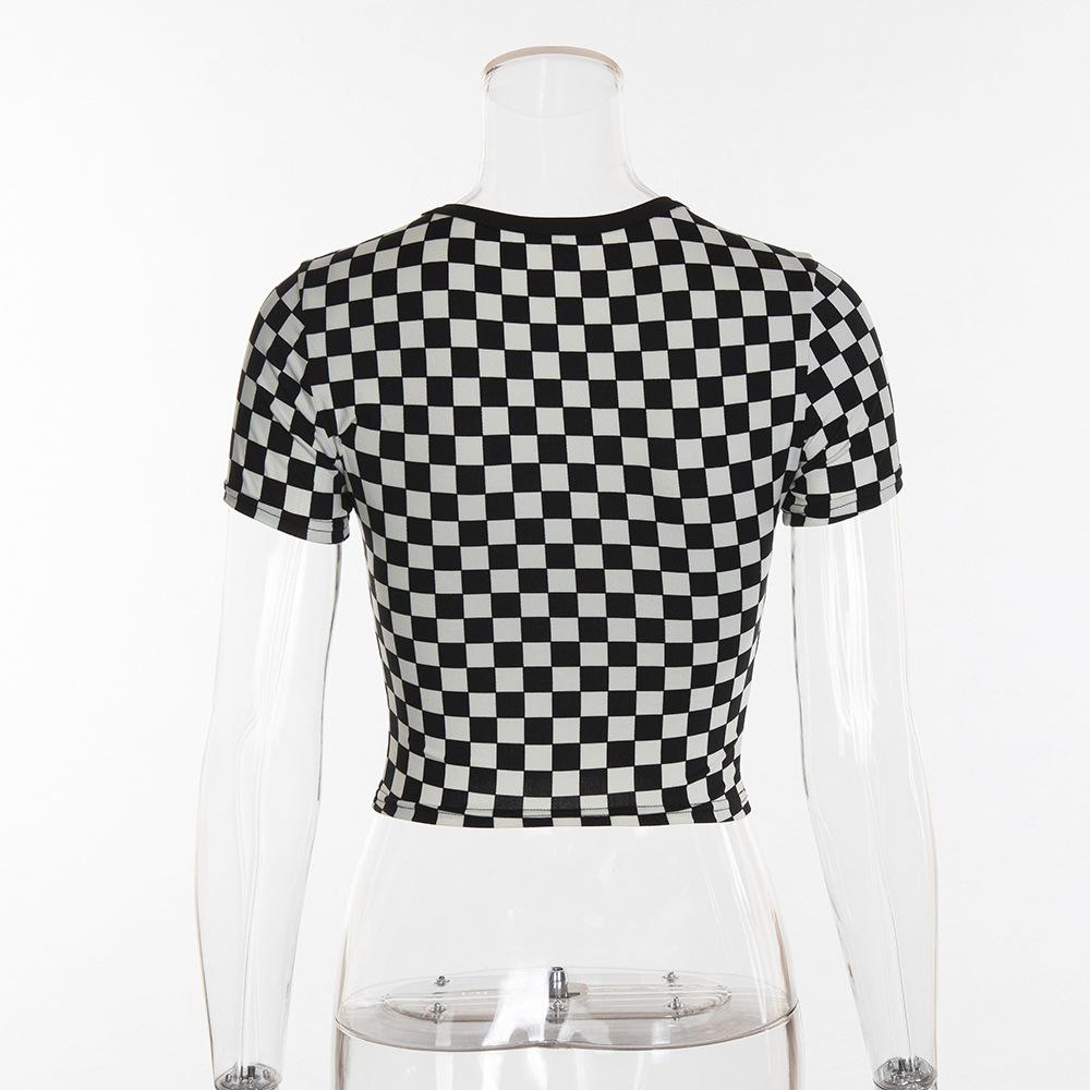 Casual checkerboard t shirt women tops tees black white checks female t-shirt sexy short summer crop top-SHIRTS-SheSimplyShops