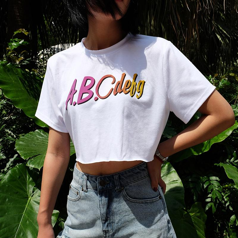 Casual white summer crop top t shirt women short sleeve letter t-shirts fashion tops tees cropped t shirt-SHIRTS-SheSimplyShops