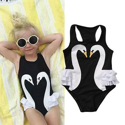 Cute Toddler Kids Baby Girls Swimming White Swan Romper Swimwear Ruffle Skirt Swimsuit Clothes Bodysuit One-Piece Suit Beachwear-ROMPERS & JUMPSUITS-SheSimplyShops