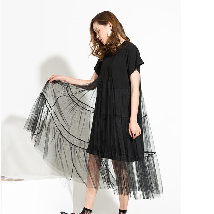 spring Trend New Long Net Yarn Spliced Black O-neck Short Sleeve Sexy mesh Dress Woman-Dress-SheSimplyShops