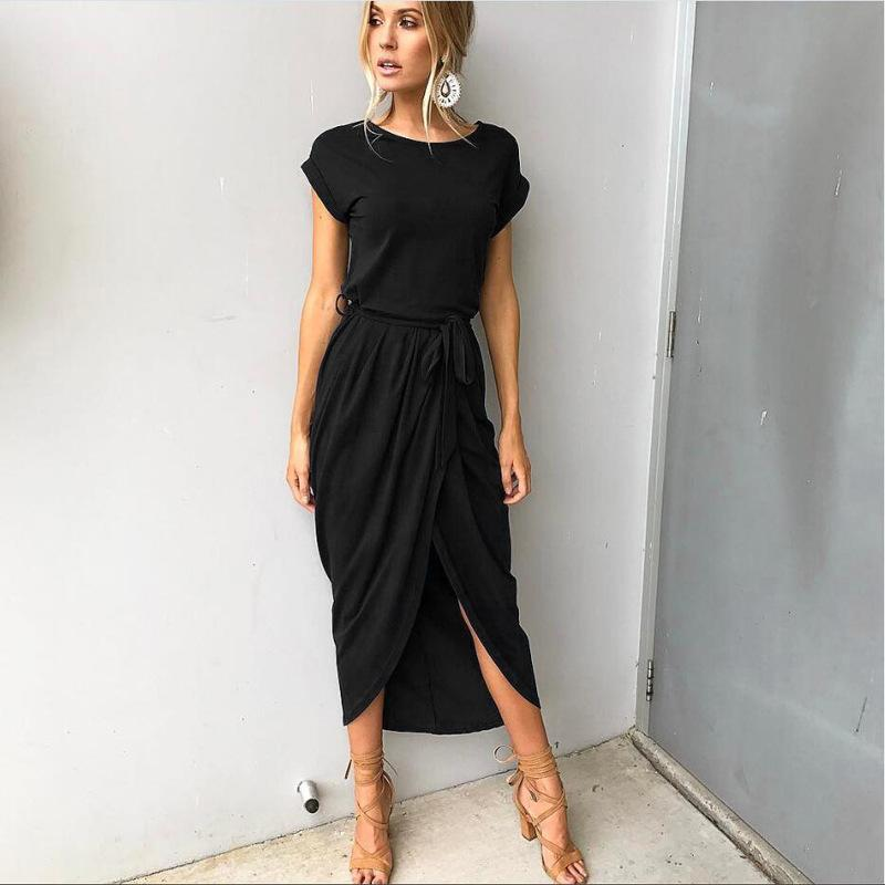 6 Colors Split Long Dress Fashion Women O-Neck Maxi Dress Summer Short Sleeve Solid Dress With Belt-Dress-SheSimplyShops