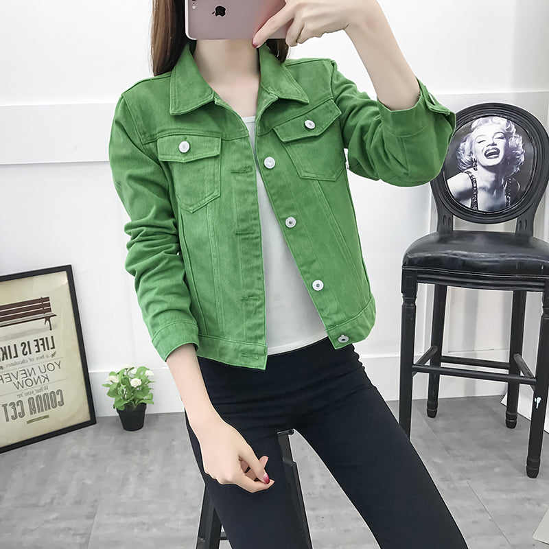 FATIKA Women Solid Denim Jacket Women Slim Cotton Light Washed Short Turn Down Collar Short Jeans Jacket