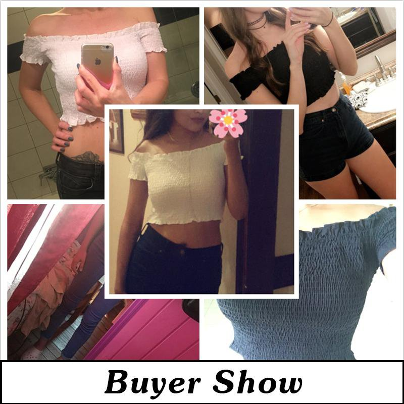 Fashion Chic off shoulder white crop top ruffle sexy women summer casual t-shirts female short hot tops tee clothes-SHIRTS-SheSimplyShops