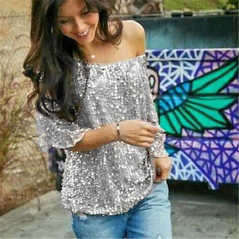 Fashion High Street Ladies Clothes Short Sleeve Round Neck Glistening Sequin Blouse Slim Shirts Unique Design Solid Tops Blouses-Blouse-SheSimplyShops