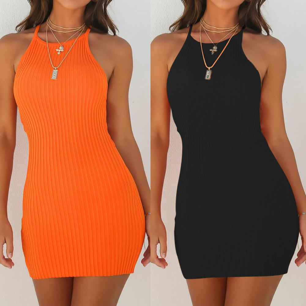 Fashion Women Sexy Backless Basic Dresses Bodycon Dress Strap Solid Dress Sling Sleeveless Holiday Party Mini Dress-Dress-SheSimplyShops