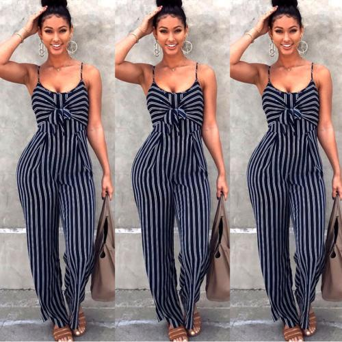 Fashion Women Striped Playsuits Sleeveless With Belt V-neck Jumpsuit Rompers Overalls Bodysuit-ROMPERS & JUMPSUITS-SheSimplyShops