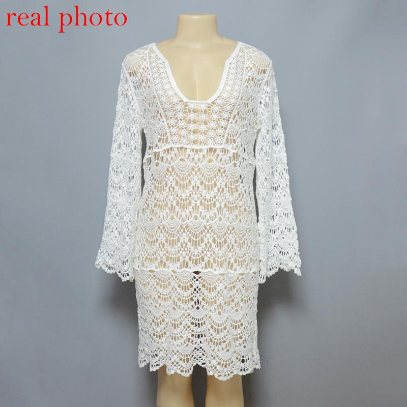 sexy V neck crochet summer dress casual white lace beach dress women beachwear ladies dresses hollow out vestiges-Dress-SheSimplyShops