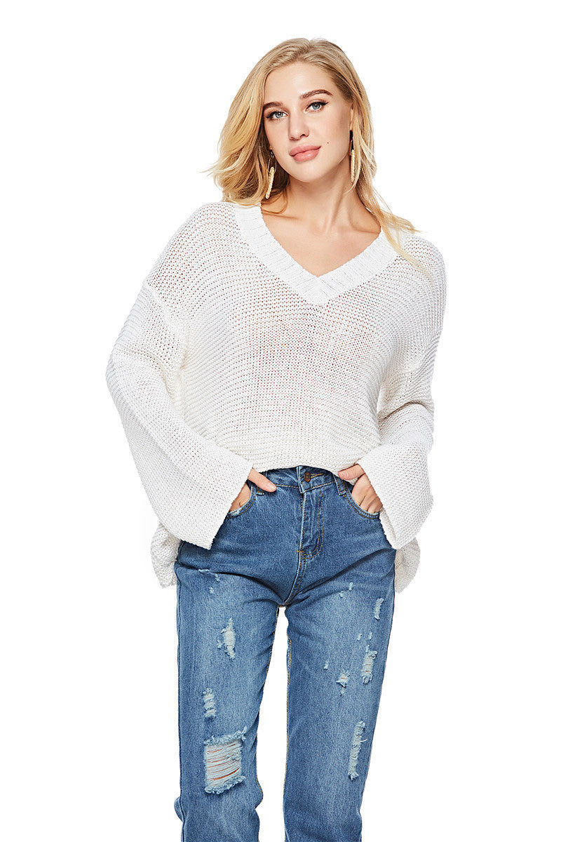 Fitshinling arrival autumn women sweaters and pullovers v neck loose hollow out knitwear sweater sexy white jumper sale