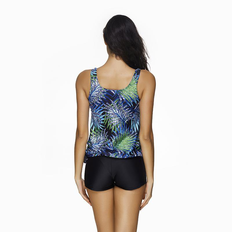 Floral Printed Two Pieces Swimsuit U Collar Vest With Black Shorts Sport Style Bathing Suit Mid-Waist Swimwear Women-SheSimplyShops
