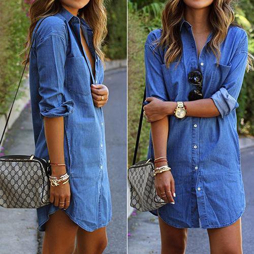 Fashion Women's Spring Long Sleeve Casual Denim Blouse Tops Shirt with Pockets-Blouse-SheSimplyShops