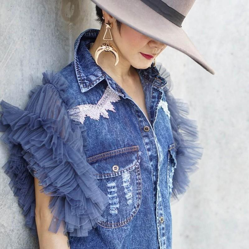 GALCAUR Summer Denim Jacket For Women Lapel Short Sleeve Lace Mesh Patchwork Button Coat Female Clothes