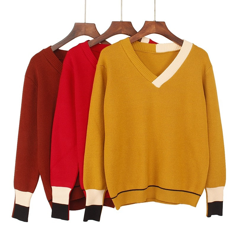 GIGOGOU High Quality Thick V Neck Women Autumn Winter Pullover Sweater Christmas Sweater Soft Warm Female Jumper Top