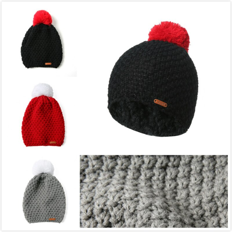 GOPLUS Winter Pompom Knitted Hat Women Hip hop Solid Skullies Beanies Female Cotton Thick Warm Caps Girl