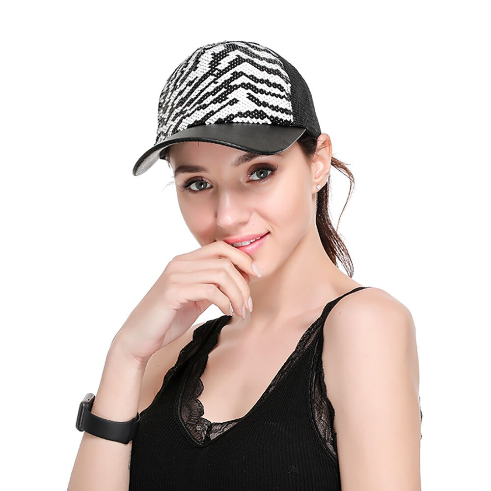 GOPLUS Zebra Stripe Snapback Glitter Sequins Baseball Cap Women Summer Mesh Patchwork Hats Girl Hip Hop Sport Hat Female