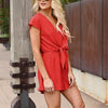 GOPLUS Boho Solid Self Belted Wrap Romper Women Short Sleeve Deep V Neck Playsuit Summer Casual Streetwear Rompers Female
