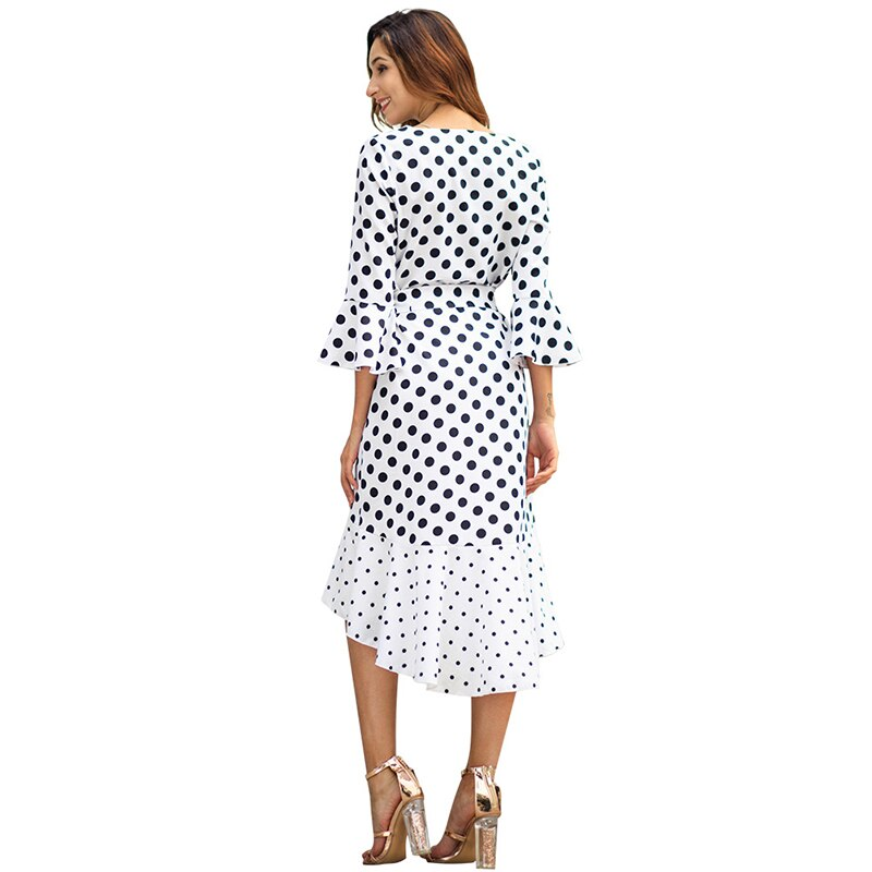 GOPLUS Polka Dot Sashes Chiffon Dress Women V Neck Flare Sleeve Midi Dress Lady Spring A line Elegant Vestidos Female