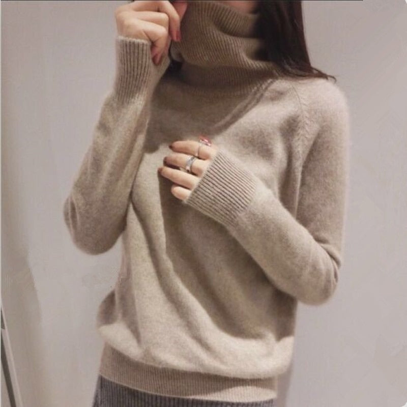Gejas Ainyu 19autumn winter cashmere sweater female pullover high collar turtleneck sweater women solid color lady basic sweater
