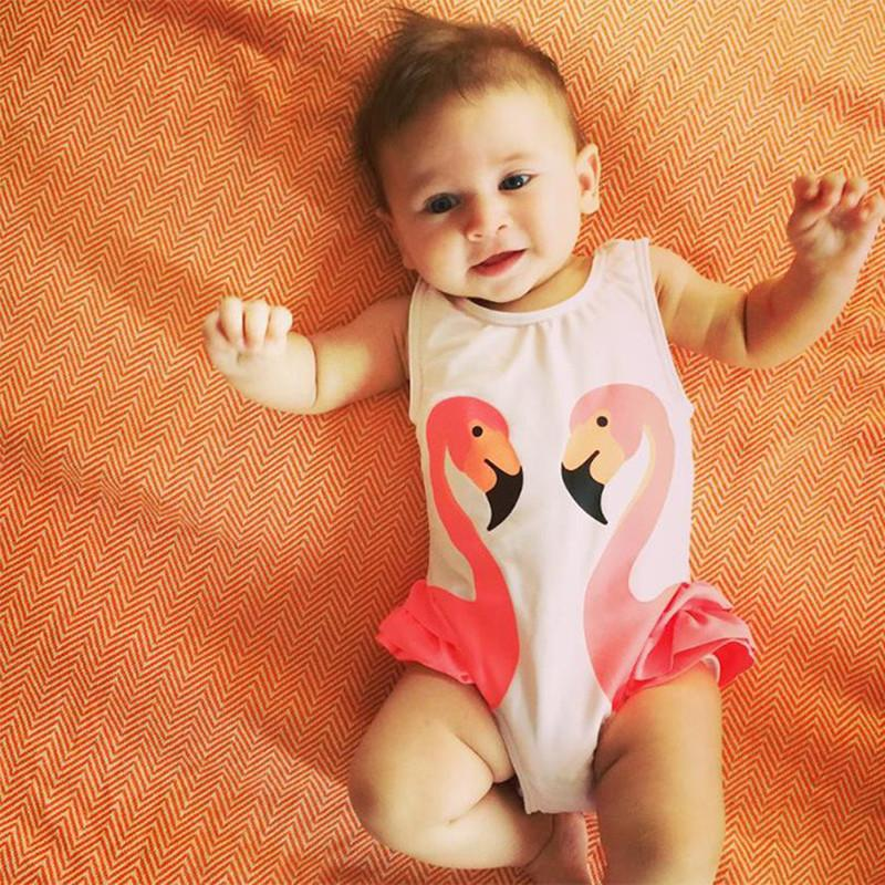 Girls Swimsuit Cartoon Kids Swimwear with Swimming Cap Parrot Swan baby girl bathing suit One Piece swim wear-SWIMWEAR-SheSimplyShops