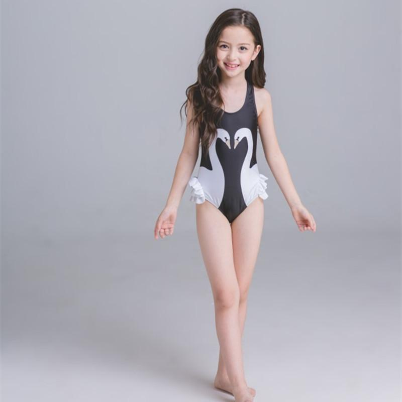 7ab96732fec5a Girls Swimwear Cute Kids Swimsuit with Swimming Cap Swan baby girl bathing  suit One Pieces swim