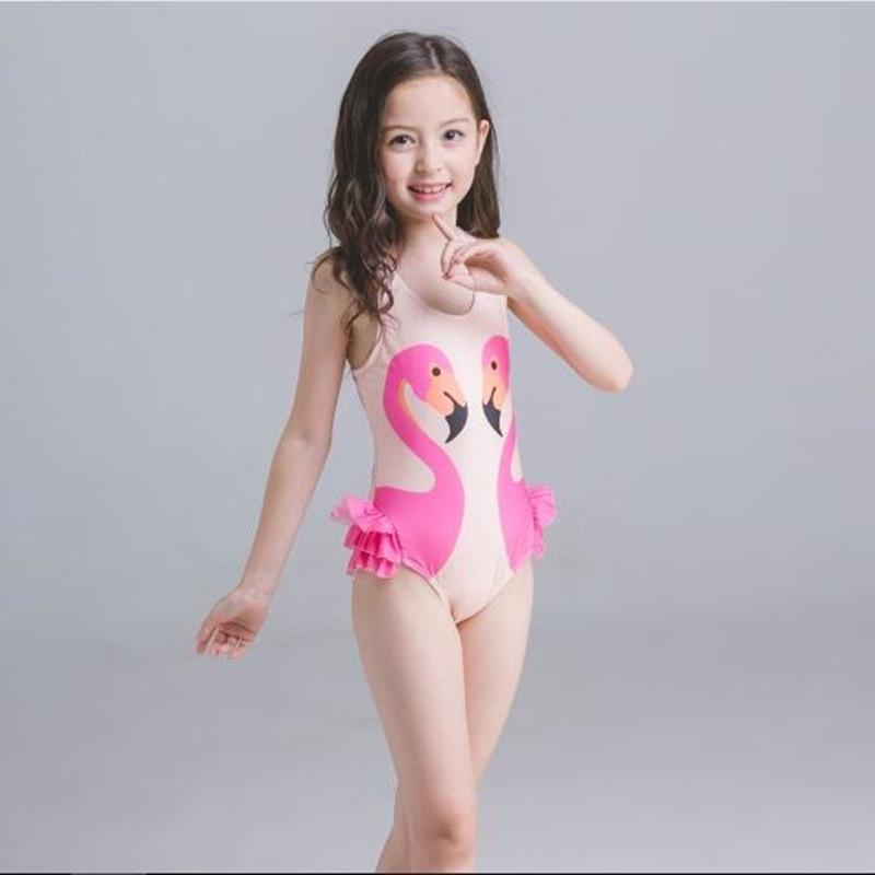 44322ad9189 Girls Swimwear Cute Kids Swimsuit with Swimming Cap Swan baby girl bathing  suit One Pieces swim