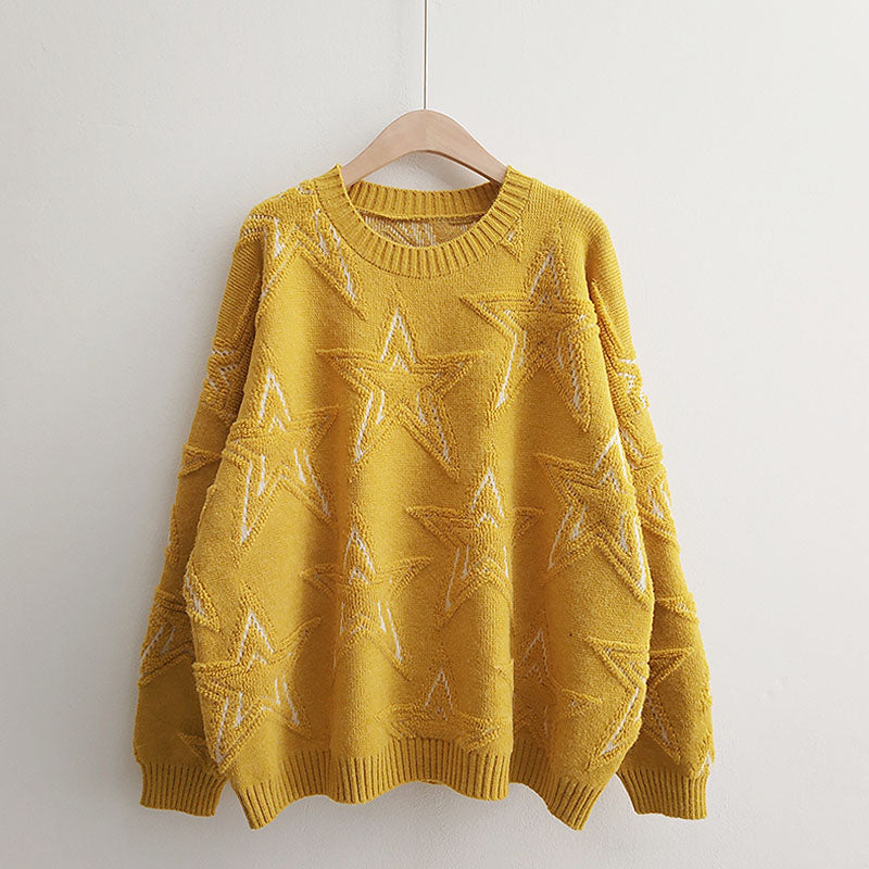 H.SA Winter Women Pullover and Sweaters Oneck Stars Pattern Jumpers Loose oversized Knitwear cashmere sweater