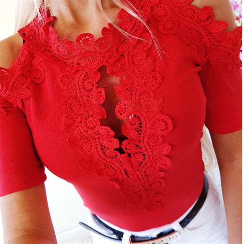 Ladies T-Shirt Women Lace Short Sleeve Casual T-Shirt Female Solid White Red Embroidery Off Shoulder T-Shirts