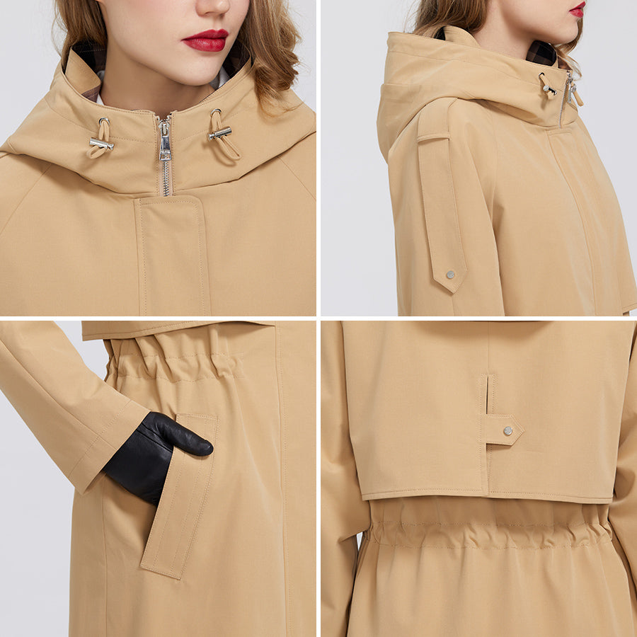 MIEGOFCE 2020 Spring New Trench Collection Designer Women Cloak Warm Windproof Coat with Resistant Collar with Hood Windbreaker