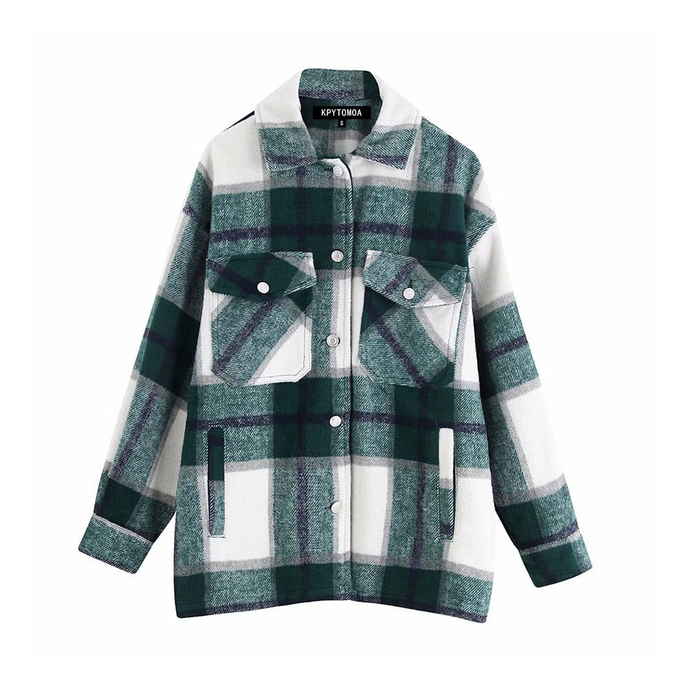 Vintage Stylish Pockets Oversized Plaid Jacket Coat Women Lapel Collar Long Sleeve Loose Outerwear Chic Tops