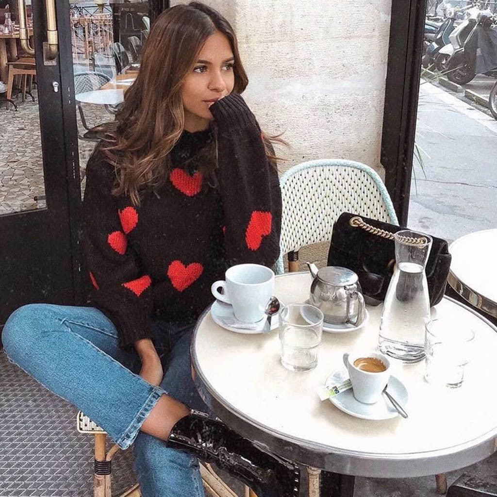 Casual Winter Sweater Women Red Heart Print Black Sweater Long Sleeve O-Neck Lazy Loose Sweater Ladies кофта женская