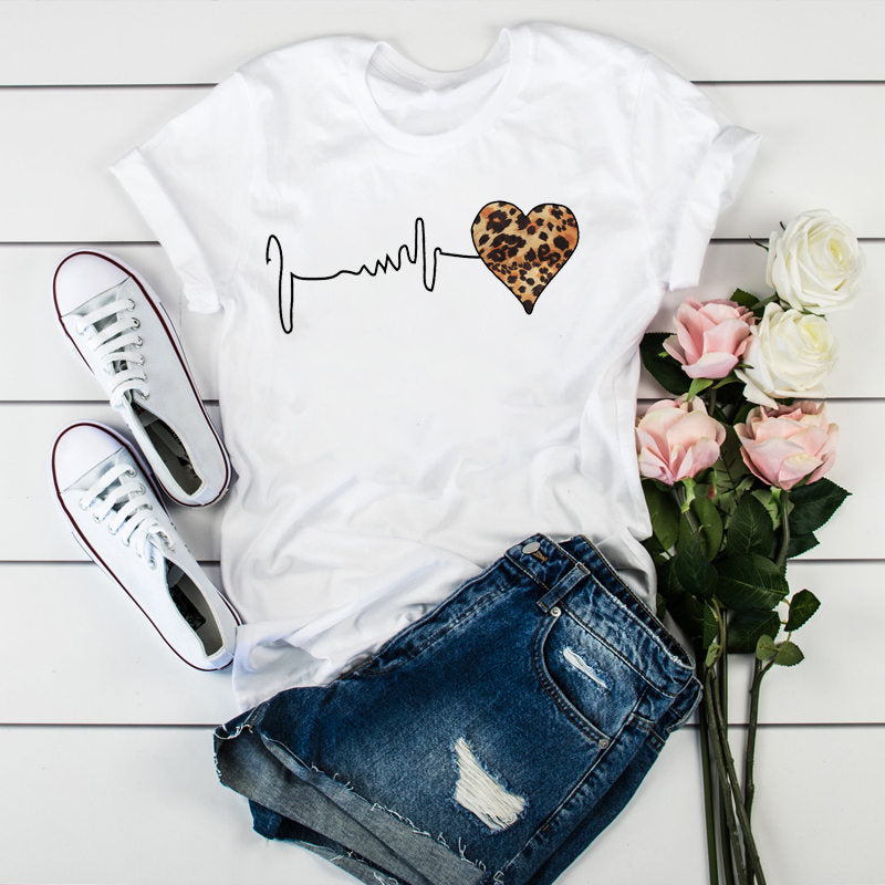 Summer 90 's Leopard Heartbeat Short Sleeve Print Clothing Women's T-Shirt Harajuku Graphic Clothing Women's Top Retro Tops