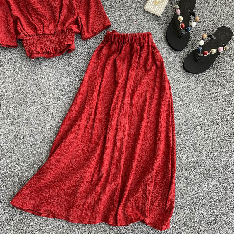Summer 2020 Single Breasted Red Black Two Piece Set Elegant Short Sleeve V Neck Chic Tops And Mid-Calf Skirt Female 2 Piece Set