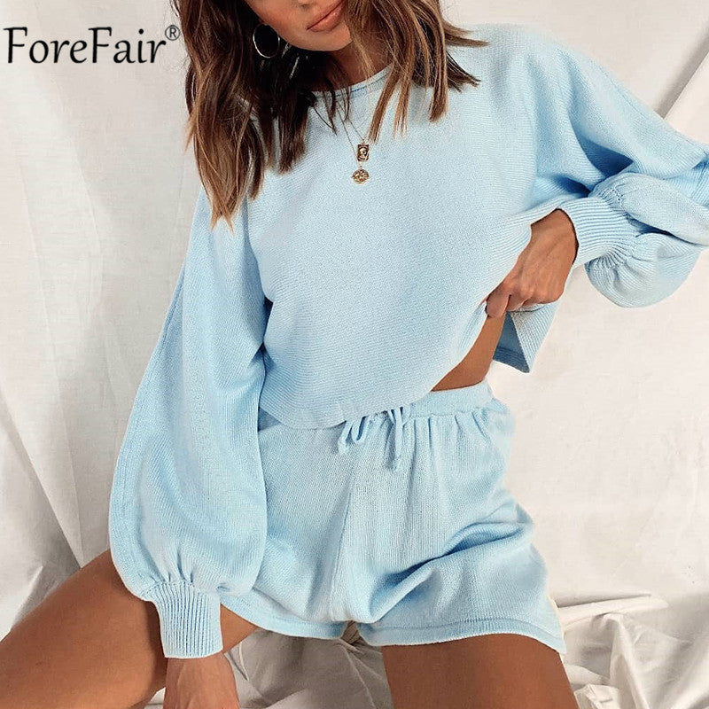 Forefair 2020 Women Set Autumn Summer Long Sleeve Crop Top White And Mini Shorts Casual Two Piece Sets Loose Outfit Suit Blue
