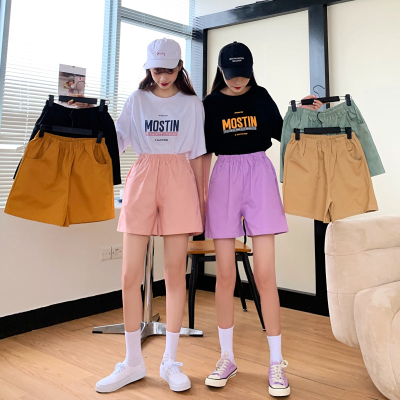6 color tooling shorts female Punk Style summer 2020 solid color loose straight casual high waist cotton shorts