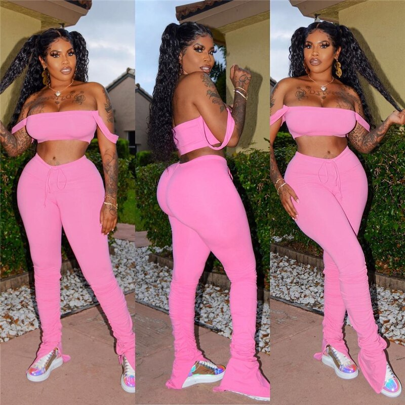 Tsuretobe Streetwear 2 Piece Set Women Crop Top And Stacked Pants Split Matching Sets Off Shoulder Club Outfits Summer Clothes