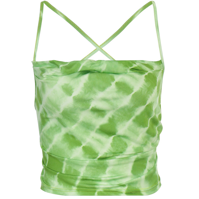 ALLNeon E-Girl Tie Dye Backless Bandage Party Tops Summer Hollow Out Camis Tops Chic Vintage Sweet Green Crop Tops