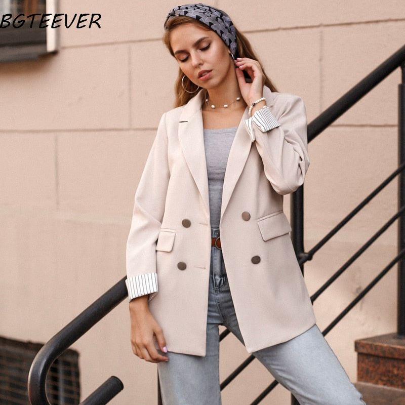 Casual Double Breasted Women Jackets Notched Collar Spring Women Blazer Jacket Autumn Female Outerwear Elegant Ladies Coat