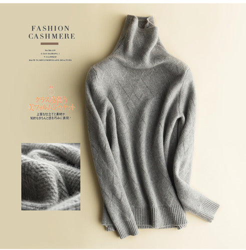 Cashmere Sweater Women Turtleneck Knitted Sweater Pullover Korean Ladies Sweaters Jersey Mujer KJ4015