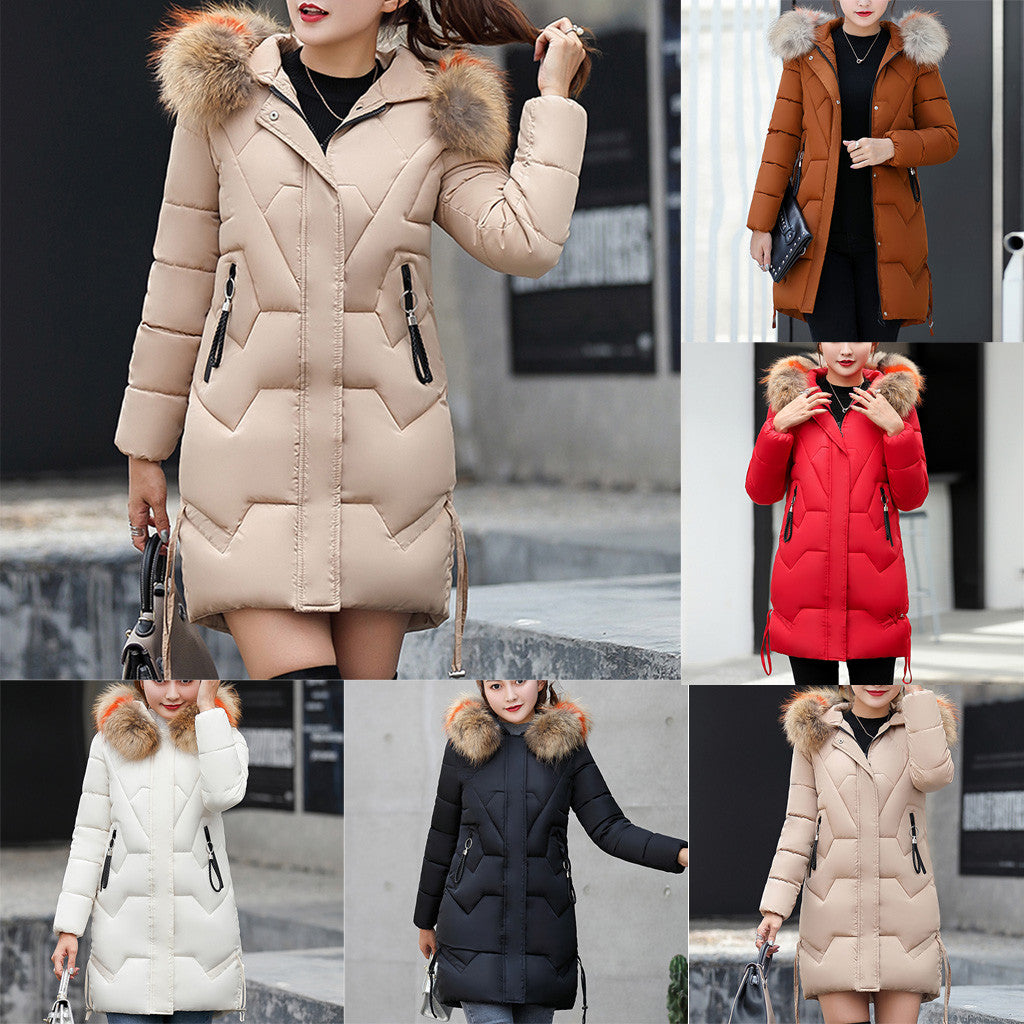 New coat women fashion Girls Slim Long Warm Coat Cotton Jacket Thickened Hooded Collar Winter coats chaquetas mujer 2019#guahao